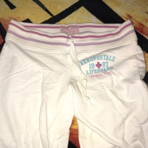 Aeropostale white with pink and blue sweat pant XS